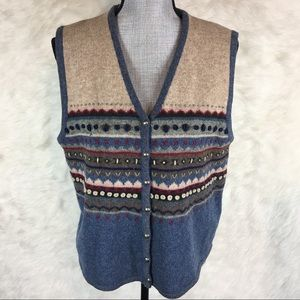 Vintage Talbots 100% Wool Sweater Vest Button Down